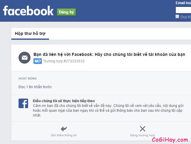 Thông báo gửi yêu cầu khôi phục tài khoản facebook thành công