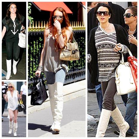 moda tendencia bota branca lindsay lohan