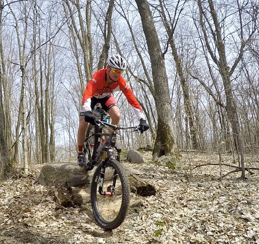 Rock/log feature on Twin Lakes singletrack. April 12th, 2017.