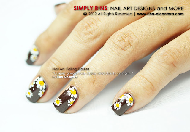 Falling Daisies Nail Art Design