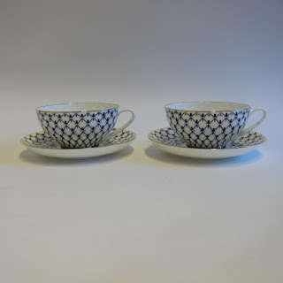 Imperial Porcelain Cobalt Net Cups and Saucers Pair