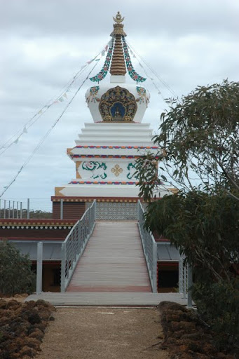 De-Tong Ling Retreat Centre's newly completed stupa, Kangroo Island, Australia, October 2011. Photo by Bill Jenner.