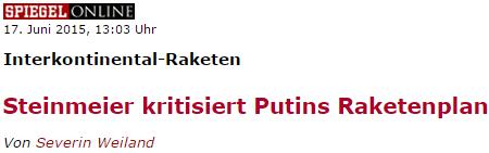 Steinmeier kritisiert Putins Raketenplan