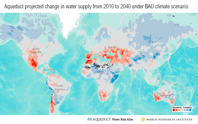 Projected change in water supply from 2010 to 2040, under business-as-usual climate scenario. Graphic: WRI