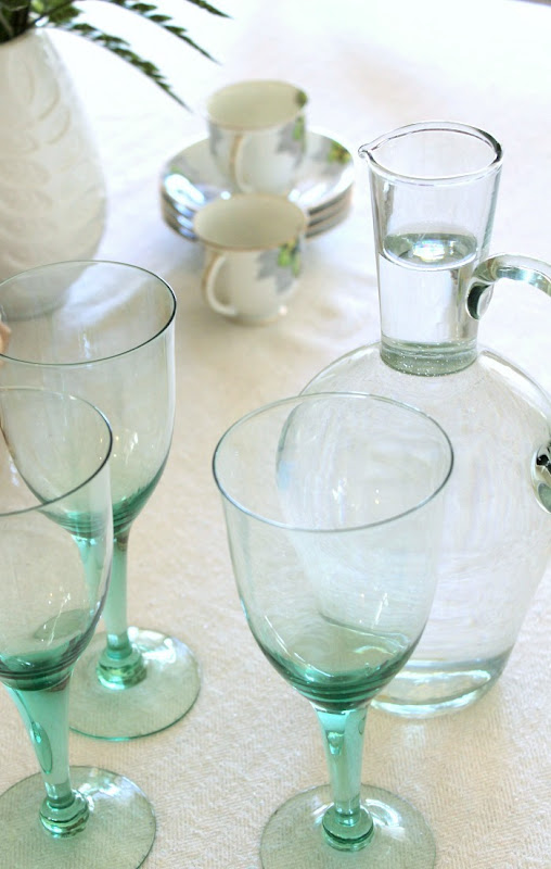 Green Glass Decor Water Pitcher and Glasses