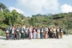 A representative from each family collected their solar lantern