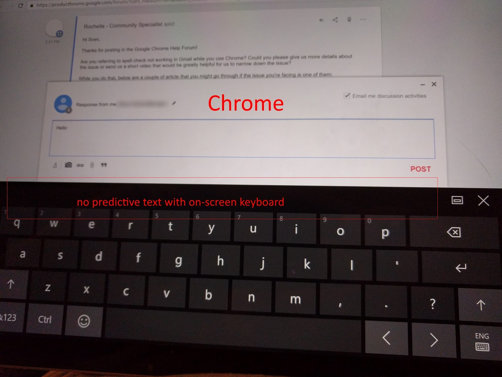 Windows 10 / Predictive Text Keyboard in Websites - Google