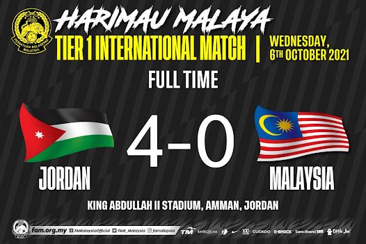 Harimau Malaya di baham Jordan dengan 4 gol tanpa balas !