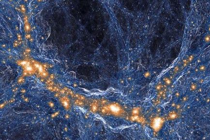 simulação da distribuição da matéria no Universo