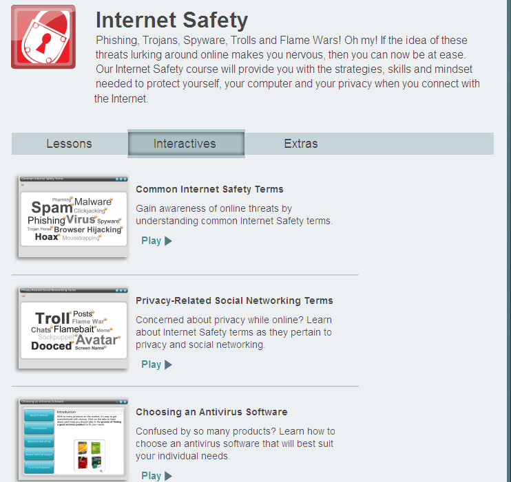 Interactive internet safety for online dating tutorials