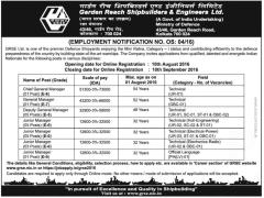 GRSE Employment Notice 2016-17 indgovtjobs