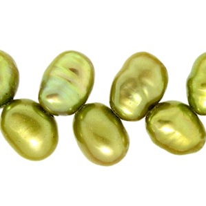 Lime Green Leaf Drilled Pearls