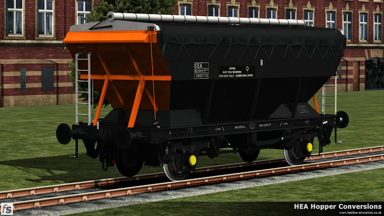 Fastline Simulation - HEA Conversions: The Loadhaul liveried CEA has been released from the paintshop after application of lettering and poses for the official photographer.