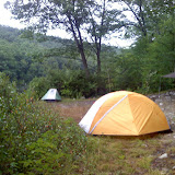 My yellow tent and Matts Green/White tent - Rocky Glen Camping