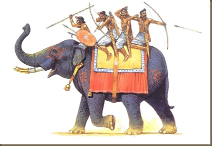Ancient Indian warriors sitting tandem on elephant
