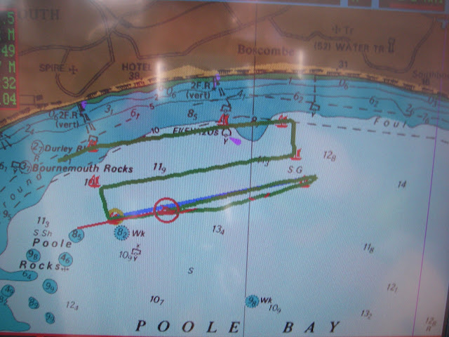 4 September 2011 - The LaserPlot on Poole's all-weather Tyne class lifeboat showing the parallel search track that the lifeboat followed during a search for missing swimmers. Photo: RNLI/Poole lifeboat