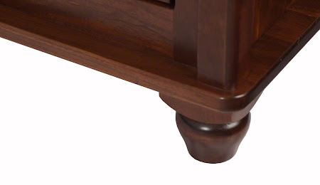 Lotus Dresser in Ruby Walnut, Base Detail Closeup