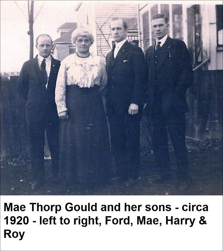 Gould_Mae & her boys-Ford-Harry & Roy_circa 1920_B&W_labeled