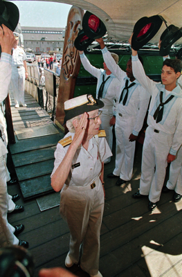 Image of Grace Hopper retirement ceremony aboard USS Constitution