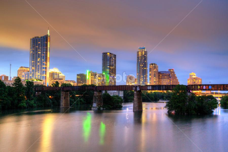 Twilight by Dave Files - City,  Street & Park  Skylines ( water, austin, tx, twilight, cityscape, digital )