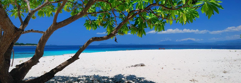 white beach at peucang island