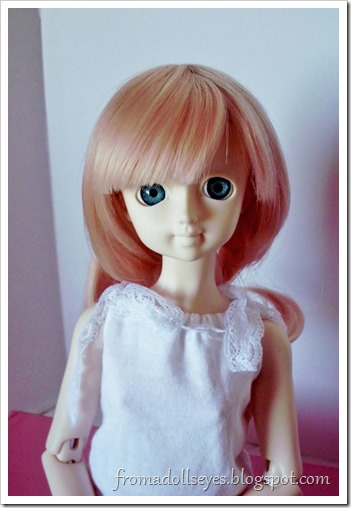 For My Doll Bjd Wig K-002 after a bang trim.