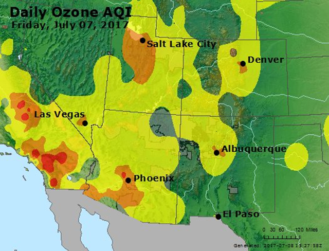 "Ozone pollution levels for Friday, 7 July 2017, as measured using the daily Air Quality Index (AQI). An AQI with red colors is ""Unhealthy"", meaning everyone may begin to experience health effects, and members of sensitive groups may experience more serious health effects. An AQI in the orange range is ""Unhealthy for Sensitive Groups"", meaning members of sensitive groups like the elderly and those with lung disease may experience health effects, but the general public is not likely to be affected. Graphic: EPA"