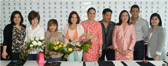 05/14/12 - 'The X Factor Philippines' Contract Signing - ELJ Building, ABS-CBN Compound, Philippines The+X+Factor+Philippines+judges+and+host+with+ABS-CBN+execs
