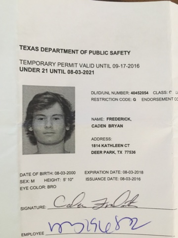 texas temporary drivers license template the fredericks caden is 16