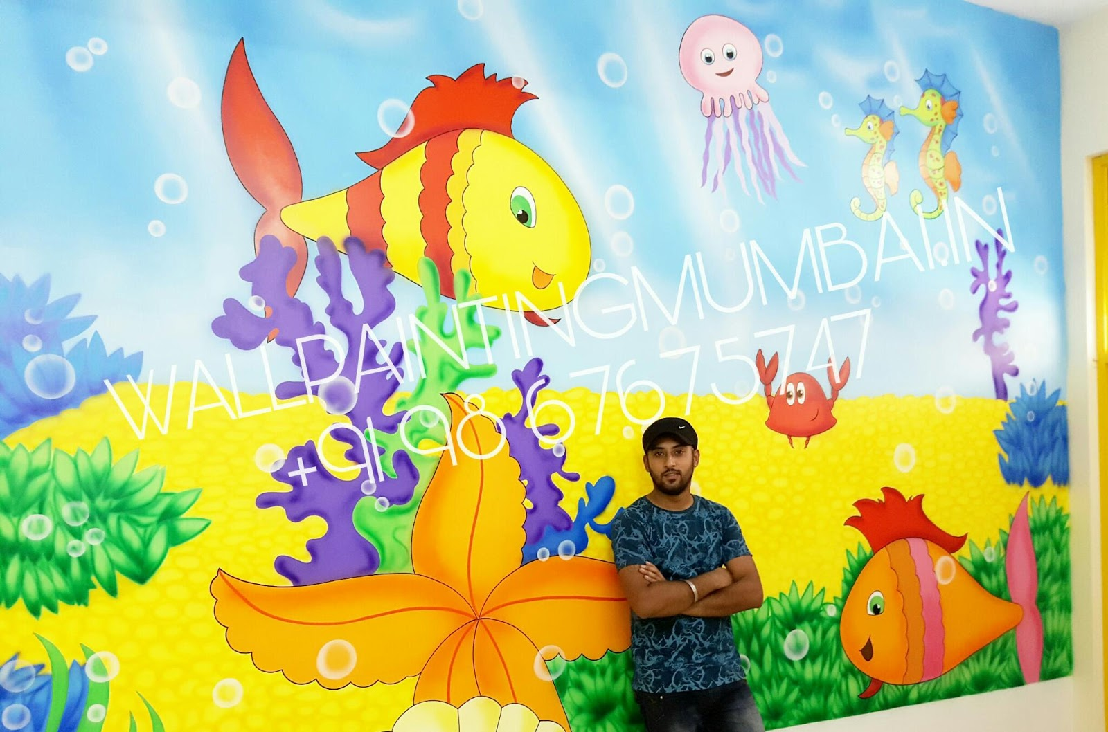 KIDS ROOM CARTOON PAINTING : Kids school classroom wall murals in mumbai