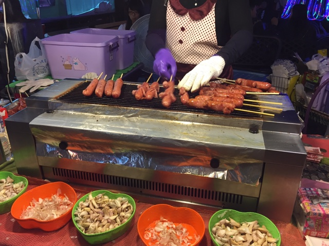 Taiwanese sausage at Raohe Night Market, Taipei Taiwan