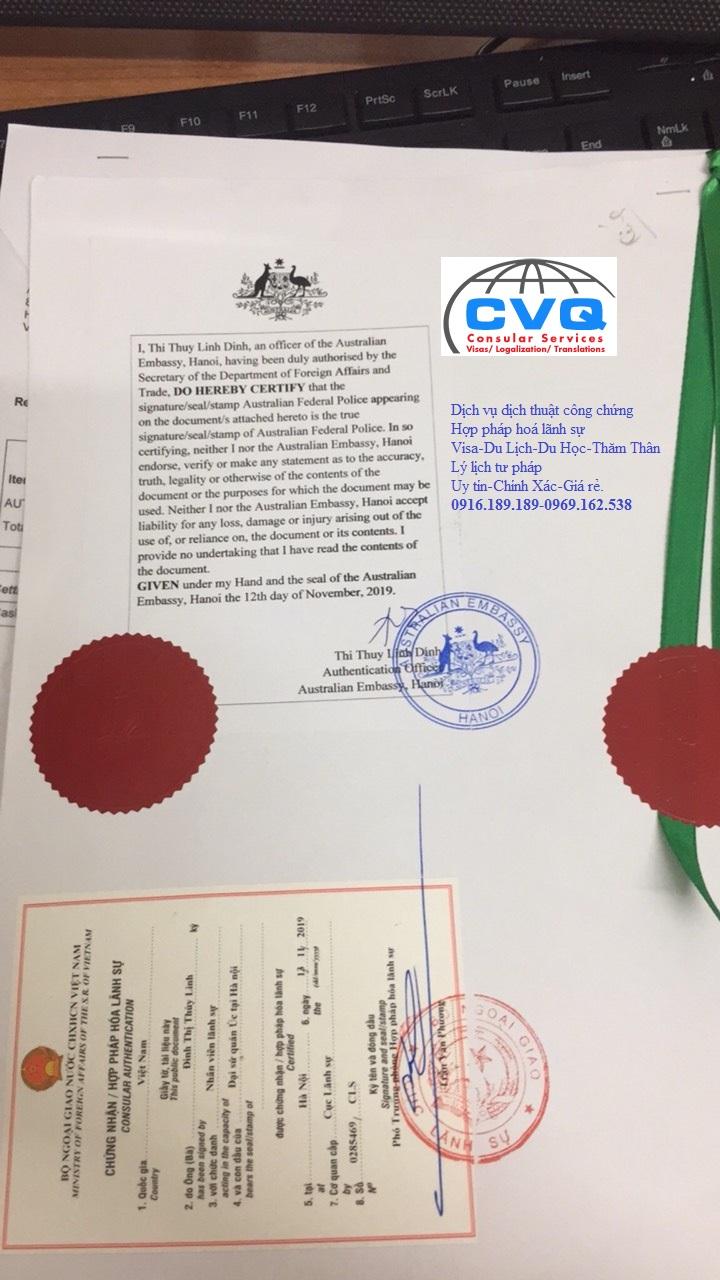 Chứng nhận hợp pháp hóa lãnh sự Bộ ngoại giao Việt Nam, Đại sứ quán Úc tại Hà Nội