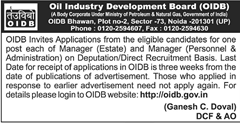 OIDB Manager Recruitment 2016 www.indgovtjobs.in