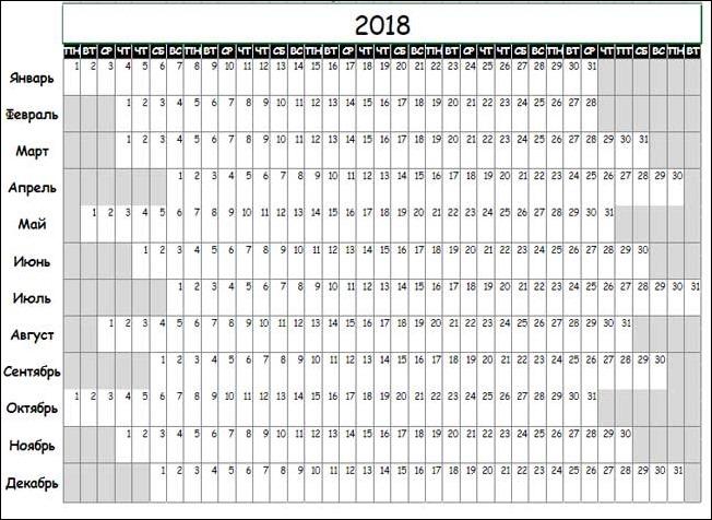 Календарь для отметки месячных в 2018 году