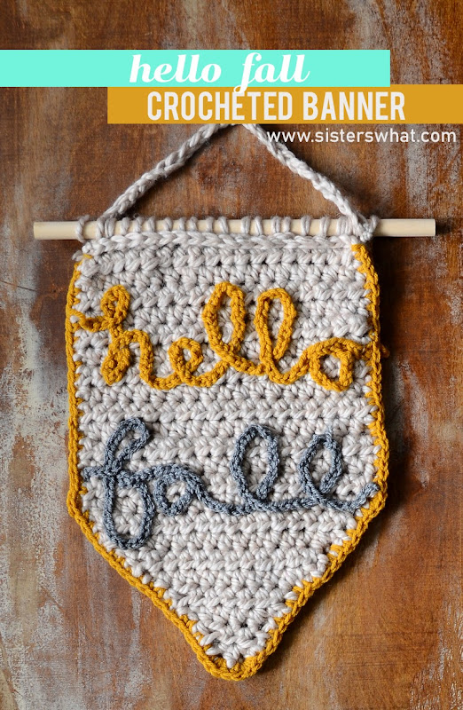 hello crochet hand lettered home decor