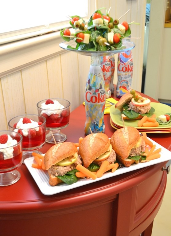 small lunch serving table w Diet Coke pedestal plate
