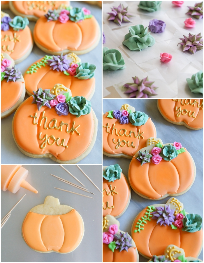 pumpkin cookies with roses and succulents