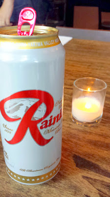 Rainier Beer at Stray Birds, a pop up at Beast by Stray Dogs PDX in May 2015. The $35 included dinner and this beer