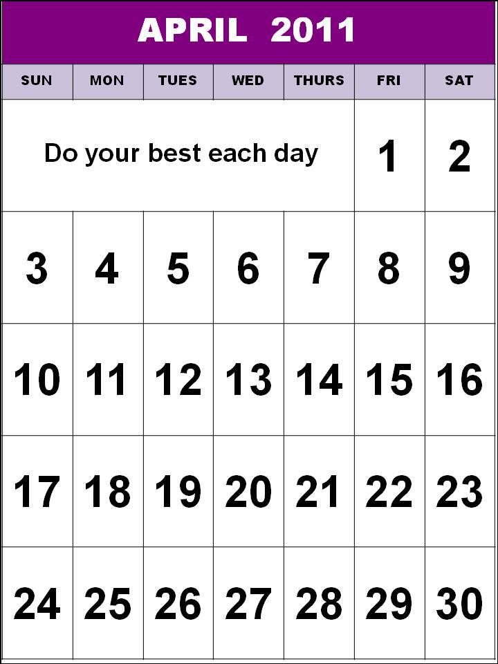 2011 calendar printable free. april 2011 calendar printable