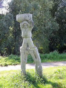 Sculpture on riverside path
