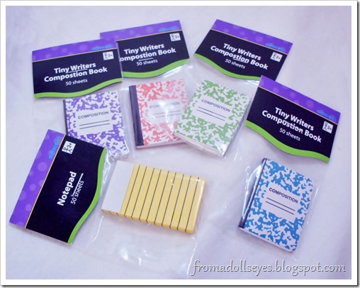 Finding Doll Props: At The Party Store? Tiny composition notebooks
