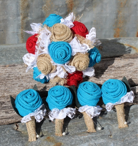 burlap wedding with turquoise and red
