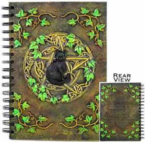 Pentacle Black Cat Pentagram Blank Book Of Shadows