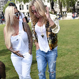 OIC - ENTSIMAGES.COM - Jodie Marsh and Meg Matthews at the Puppy Farming Protest - demonstration and photocall 24th May 2016, rally and photocall in London's Parliament Square to raise awareness of the UK's cruel puppy farming trade, in association with PupAid, Boycott Dogs4Us and C.A.R.I.A.D.  Photo Mobis Photos/OIC 0203 174 1069