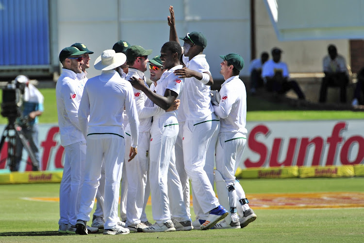 Proteas celebrate Kagiso Rabada 's 10th wicket of the match during day four of the second 2018 Sunfoil Test match between South Africa and Australia at St George's Park, Port Elizabeth on 12 March 2018.