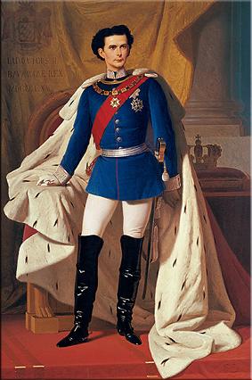 El rey Luis II en uniforme de general y con el manto de la coronación. Ferdinand von Piloty, Múnich, 1865