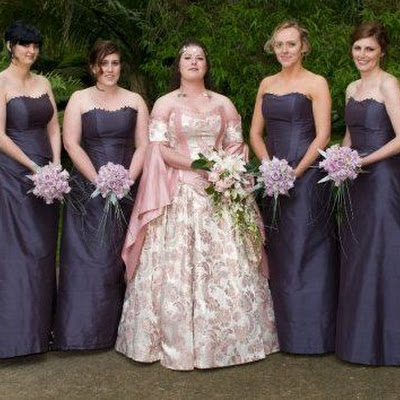 Jesse's bridesmaids - Dupion silk lace-up corsets with A-line skirts