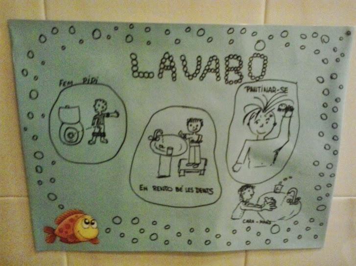 Cartulina del área del lavabo con los dibujos correspondientes a las tareas.