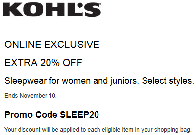 Kohls coupon save 20% off sleepwear