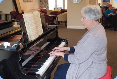 Claudette Wheeler debutting on the grand piano for the Club! Photo courtesy of Dennis Lyons.
